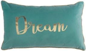 Modrý vankúš s nádpisom DREAM 30 x 50 cm