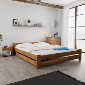 Maxi Drew Posteľ Emily 180 x 200 cm, dub Rošt: s latkovým roštom, Matrac: 2 ks matracov Economy 10 cm