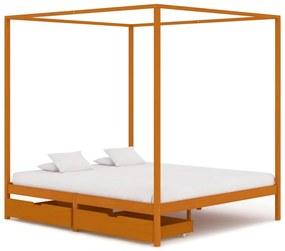 vidaXL Posteľný rám, baldachýn, 2 zásuvky, borovicový masív 160x200 cm