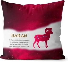Vankúš Znamenie Baran (21.3. - 20.4.) - červený (Veľkosť: 55 x 55 cm)