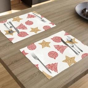 Goldea vianočné prestieranie na stôl verona - vzor červené a zlaté vianočné symboly na bielom - sada 2ks 30 x 40 cm