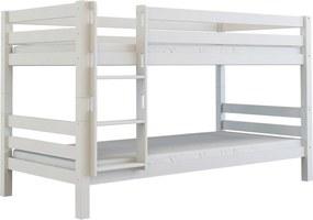 MF Poschodová posteľ z bukového masívu Oliver 200x90 Biela Variant úložný box: Bez úložného boxu