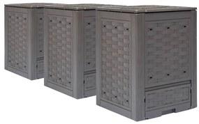vidaXL Záhradné kompostéry 3 ks hnedé 60x60x83 cm 900 l