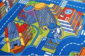 Detský koberec BIG CITY modrý - 100x100 cm