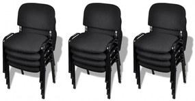 vidaXL Stohovateľné kancelárske stoličky, 12 ks, látkové, čierne