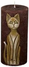 Dekoratívna sviečka Mačka hnedá, 14 cm