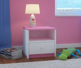OURBABY detský nočný stolík - ružovo-biely nočný stolík - ružovo-biely