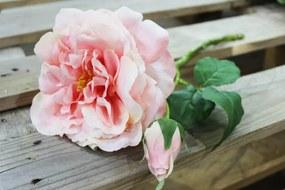 Lososová umelá ruža záhradná 36cm