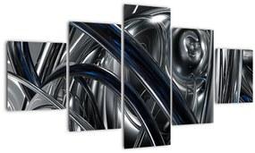 Obraz sivej abstrakcie s modrou (125x70 cm), 40 ďalších rozmerov