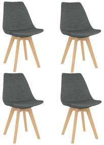 vidaXL Jedálenské stoličky 4 ks, svetlosivé, látka