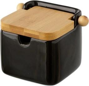 Černá kameninová dóza na soľ s bambusovým viečkom Unimasa, 250 ml