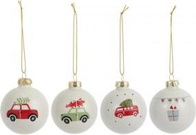 IB LAURSEN Vianočná ozdoba Christmas White Červený autobus