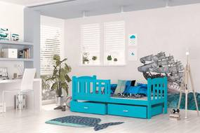 Tedi 160x70 Modrá detská posteľ