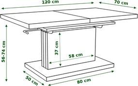 Mazzoni PRESTIGE ASTON rozkladací, zdvíhací, konferenčný stolík, čiernobiely