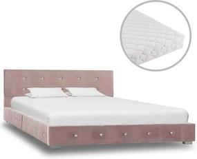 vidaXL Posteľ s matracom ružová 120x200 cm zamatová