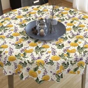 Goldea dekoračný obrus loneta - vzor pomaranče a kvety - guľatý Ø 70 cm