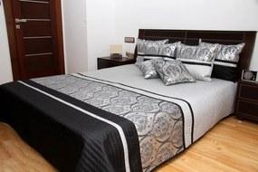 DomTextilu Luxusný prehoz na posteľ čierno strieborno šedý Šírka: 220 cm | Dĺžka: 240 cm 2492-104118