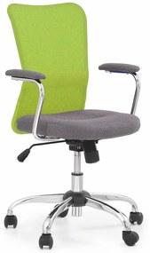 HALMAR Andy detská stolička na kolieskach s podrúčkami zelená / sivá