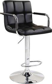 Barová stolička, čierna ekokoža/chróm, LEORA NEW