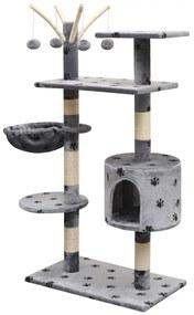 vidaXL Škrabadlo pre mačky so sisalovými stĺpikmi, 150 cm, sivé s potlačou labiek