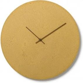CLOCKIES CEMENT 50 nástenné hodiny Žltá Orechové drevo