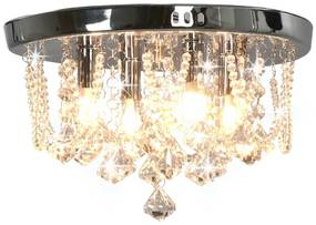 vidaXL Stropná lampa s kryštálovými korálkami strieborná okrúhla 4 x G9 žiarovk