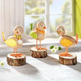 Dekoračné figúrky Jarné vtáčatá, súprava 3 ks