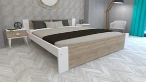 Klára 160x200 manželská posteľ Biela+Dub sonoma