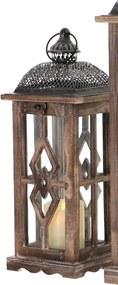 Drevený lampáš s čiernym plechovým vrchom MSL3378BR - hnedý (16x16x43 cm) - vidiecky štýl