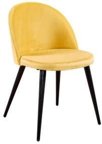 Velvet stolička žltá