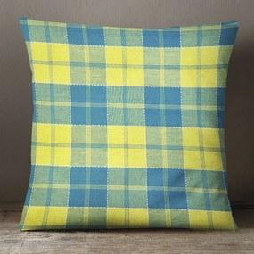 Goldea dekoračná obliečka na vankúš kanafas - vzor modro žlté káro 40 x 40 cm