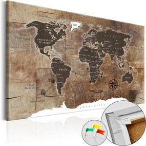 Bimago Obraz na korku - Wooden Mosaic [Cork Map] 120x80 cm