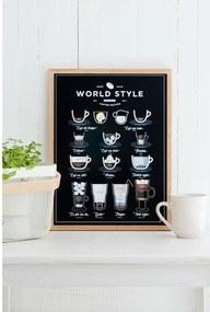 Čierny plagát Follygraph World Style Coffee, 21 × 30 cm