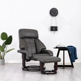 vidaXL Sklápacie TV kreslo s podnožkou, sivé, umelá koža