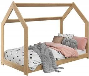Detská posteľ DOMČEK D2 borovica 80x160 cm Rošt: Bez roštu, Matrac: Bez matraca