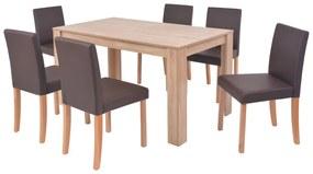 Jedálenský stôl a stoličky, 7 ks, umelá koža a dubové drevo, hnedé