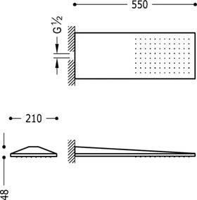 TRES - Nástenné sprchové kropítko so systémom proti usadeniu vodného kameňa 210x550 mm. (29990302)