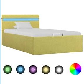 vidaXL Hydraulický posteľný rám+úložný priestor, LED, látka 100x200 cm