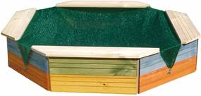 Pieskovisko Woody dřevěné - barevné s ochrannou sítí