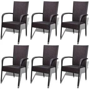274352 vidaXL Záhradné jedálenské stoličky, 6 ks, polyratan, hnedé, (3x42487