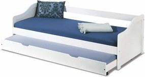 HALMAR Leonie 2 90 rozkladacia posteľ s prístelkou biely lesk