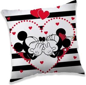 Jerry Fabrics Vankúšik Mickey a Minnie in Stripes, 40 x 40 cm
