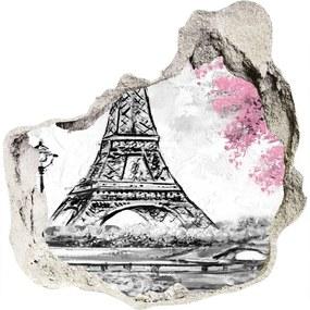 Fototapeta diera na stenu 3D Eiffelova veža Paríž WallHole-75x75-piask-129898169