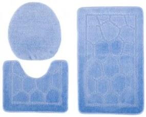 Sada kúpeľňových koberčekov MONO 1147 modrý 5004 3PC BRUK