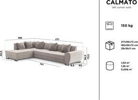 KOOKO HOME Rohová rozkladacia zamatová pohovka s úložným priestorom Calmato XL ľavý roh