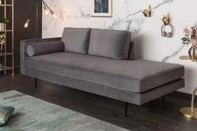 Dizajnová leňoška Evie 196 cm sivý zamat