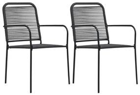 vidaXL Záhradné stoličky 2 ks čierne bavlnené šnúry a oceľ