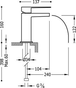 TRES - Jednopáková umyvadlová baterie ramínko s otevřeným vodopádem. POZNÁMKA: Baterie typu vodop (20211001)