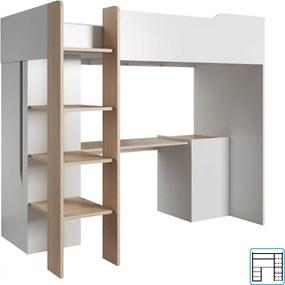 Viacúčelová kombinovaná posteľ, dub jantár/biely mat, LUIS
