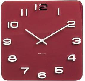 KARLSSON Nástenné hodiny Vintage štvorcové červené